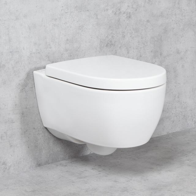 Geberit iCon NEU & Tellkamp Premium 1000 Wand-WC-SET: WC ohne Spülrand, WC-Sitz mit Absenkautomatik weiß, mit KeraTect