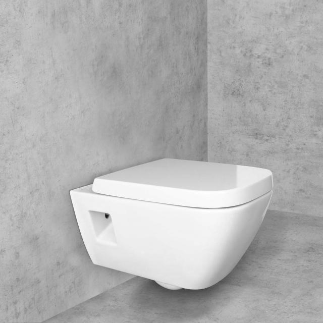 Geberit Renova Plan Wand-Tiefspül-WC & Tellkamp Premium 8000 WC-Sitz SET weiß, mit KeraTect