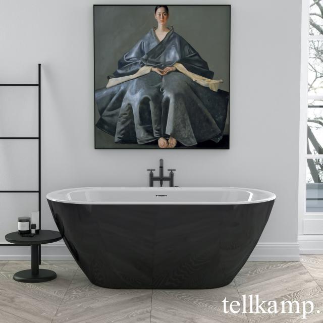 Tellkamp Cosmic Freistehende Oval-Badewanne weiß glanz, Schürze schwarz glanz, ohne Füllfunktion