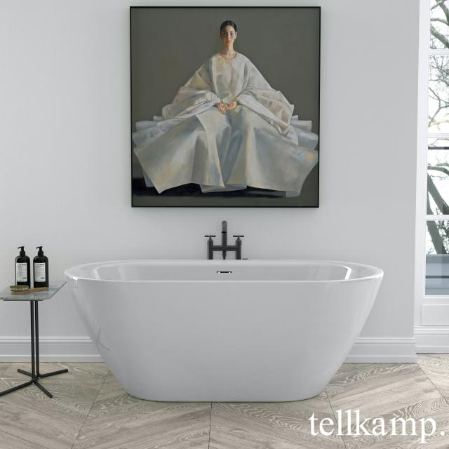 Tellkamp Cosmic Freistehende Oval-Badewanne weiß glanz, Schürze weiß glanz, ohne Füllfunktion