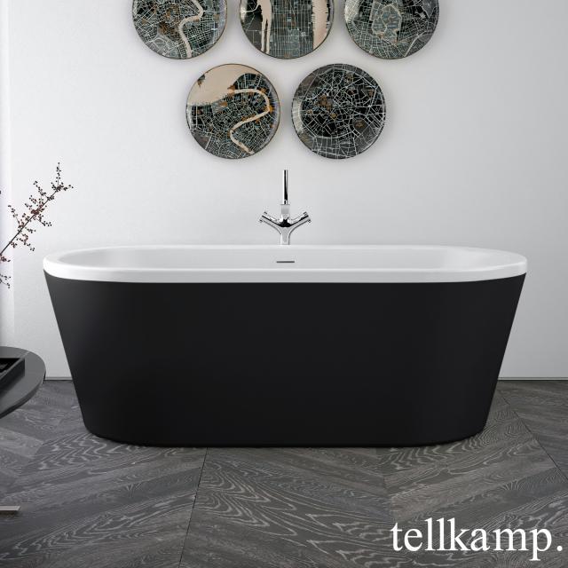Tellkamp Easy Freistehende Oval-Badewanne weiß matt, Schürze ebony matt, ohne Füllfunktion