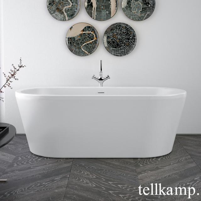 Tellkamp Easy Freistehende Oval-Badewanne weiß matt, Schürze weiß matt, ohne Füllfunktion