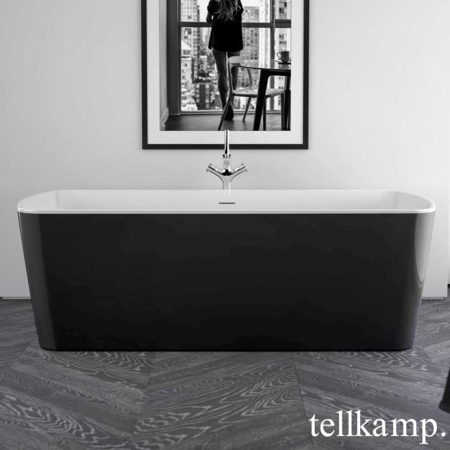 Tellkamp Komod Freistehende Rechteck-Badewanne weiß glanz, Schürze schwarz glanz, ohne Füllfunktion