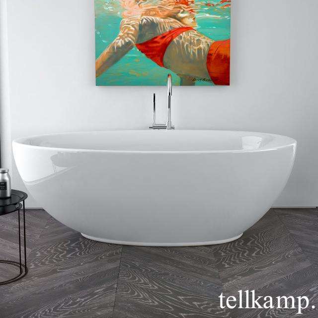Tellkamp Neon Freistehende Oval-Badewanne weiß glanz, Schürze weiß glanz, ohne Füllfunktion