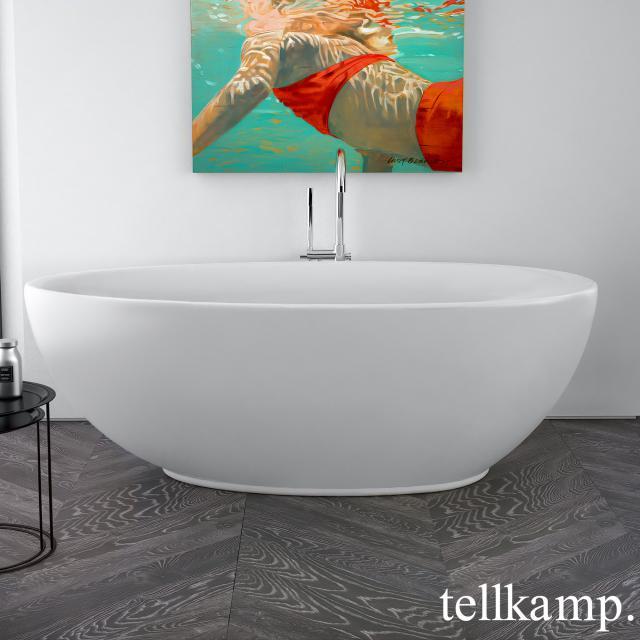 Tellkamp Neon Freistehende Oval-Badewanne weiß matt, Schürze weiß matt, ohne Füllfunktion