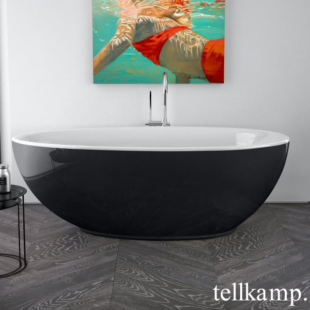 Tellkamp Neon Freistehende Oval-Whirlwanne weiß glanz, Schürze schwarz glanz