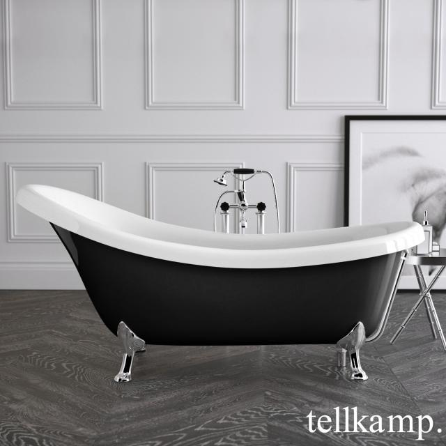 Tellkamp Nostalgia Freistehende Oval-Badewanne weiß glanz, Schürze schwarz glanz