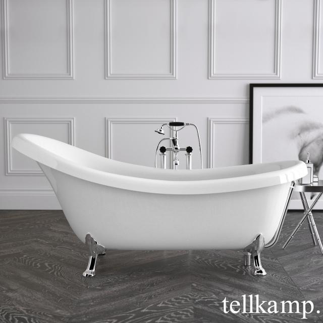Tellkamp Nostalgia Freistehende Oval-Badewanne weiß glanz, Schürze weiß glanz