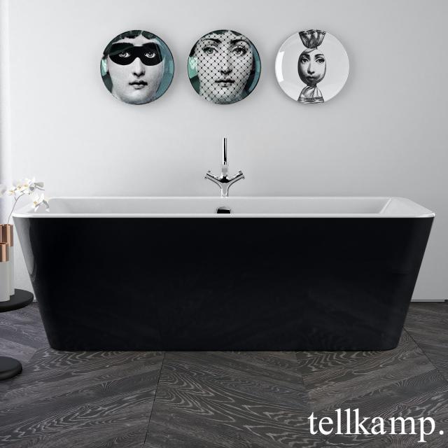 Tellkamp Pura Freistehende Rechteck-Badewanne weiß glanz, Schürze schwarz glanz, ohne Füllfunktion