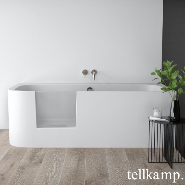 Tellkamp Salida Raumspar-Badewanne mit Duschzone und Verkleidung weiß matt, ohne Füllfunktion