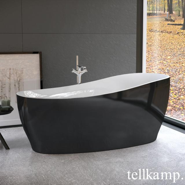 Tellkamp Sao Freistehende Oval-Badewanne weiß glanz, Schürze schwarz glanz, mit Wanneneinlauf
