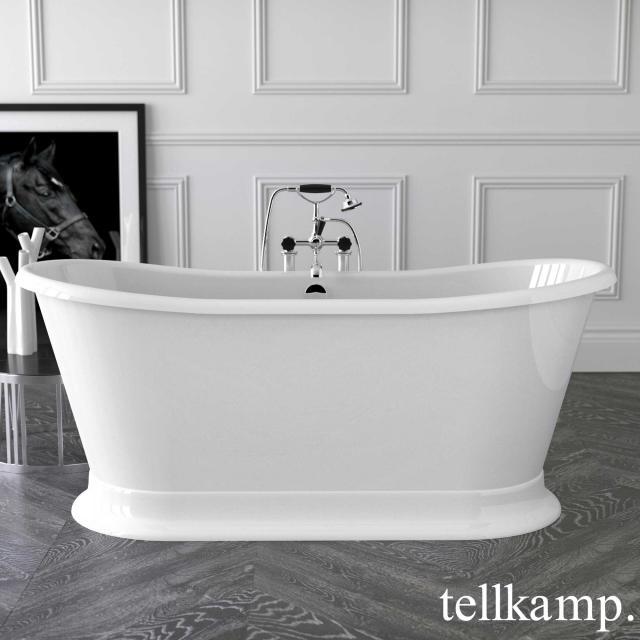 Tellkamp Scala Base Freistehende Oval-Badewanne Wanne weiß, Ablaufgarnitur chrom