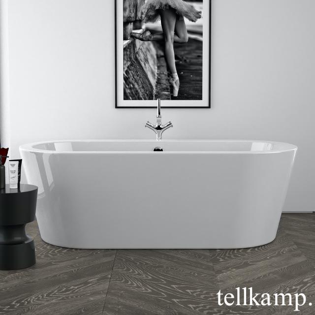 Tellkamp Solitär Freistehende Oval-Badewanne weiß glanz, Schürze weiß glanz, ohne Füllfunktion