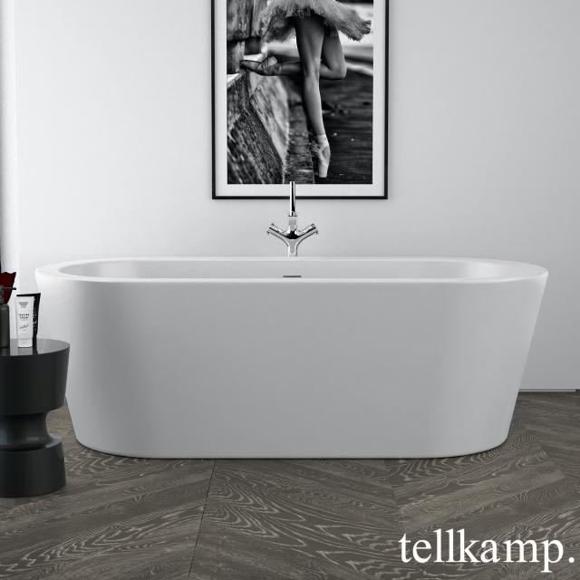 Tellkamp Solitär Freistehende Oval-Badewanne weiß matt, Schürze weiß matt, ohne Füllfunktion