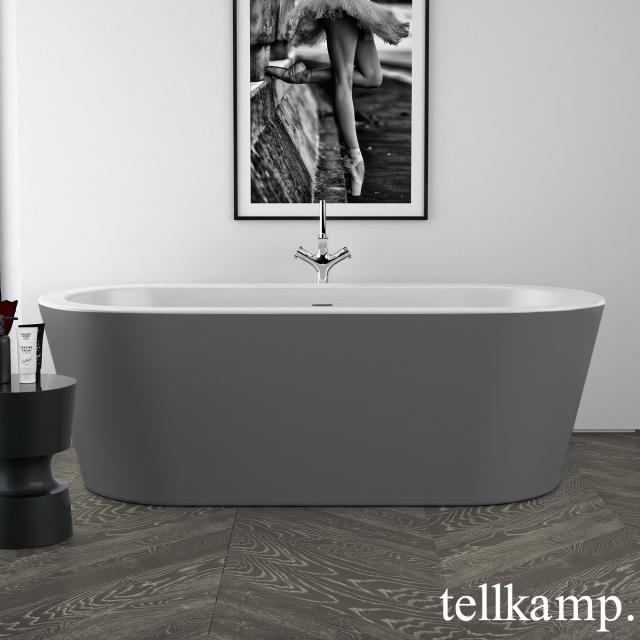 Tellkamp Solitär Freistehende Oval-Badewanne weiß matt, Schürze zement matt, ohne Füllfunktion