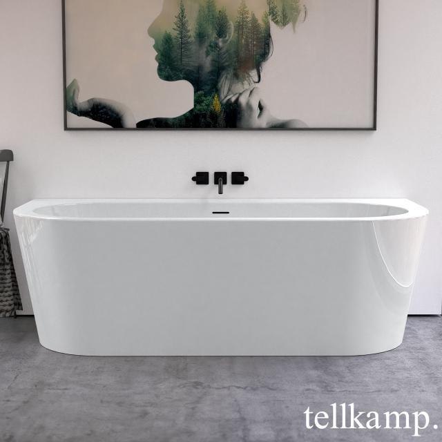 Tellkamp Solitär Wall Vorwand-Badewanne mit Verkleidung weiß glanz, Schürze weiß glanz, ohne Füllfunktion