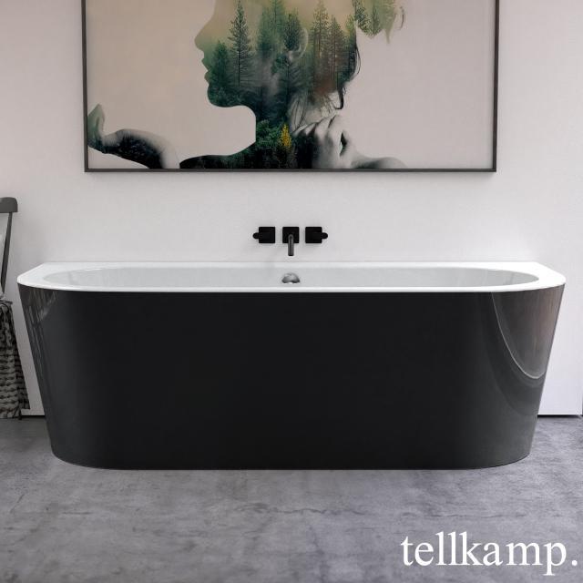 Tellkamp Solitär Wall Vorwand-Badewanne mit Verkleidung weiß glanz, Schürze schwarz glanz, mit Wanneneinlauf
