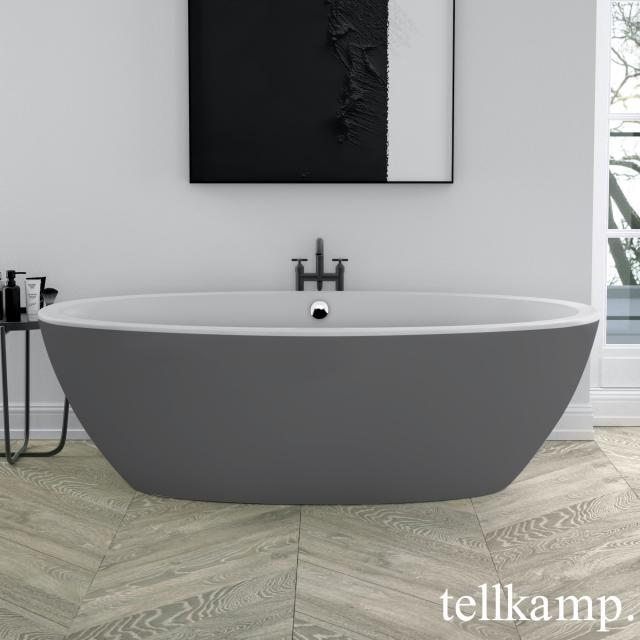 Tellkamp Space Freistehende Oval-Badewanne weiß matt, Schürze zement matt, mit Wanneneinlauf
