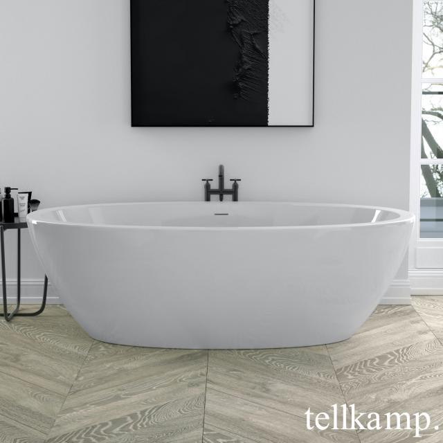 Tellkamp Space Freistehende Oval-Badewanne weiß glanz, Schürze weiß glanz, ohne Füllfunktion