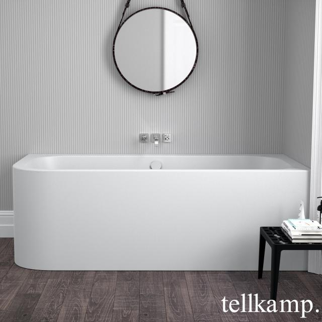 Tellkamp Thela Eck-Badewanne mit Verkleidung weiß matt, mit Wanneneinlauf
