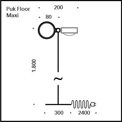 Top Light Puk Floor Twin Stehleuchte mit Dimmer, ohne Zubehör