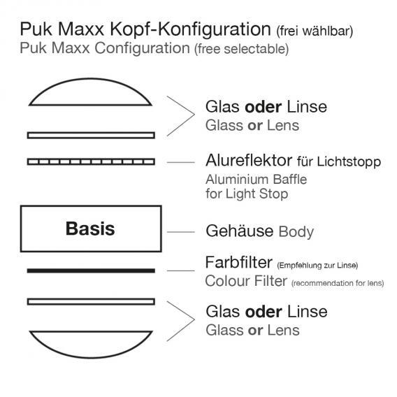 Top Light Puk Maxx Floor Maxi Twin Stehleuchte mit Dimmer, ohne Zubehör
