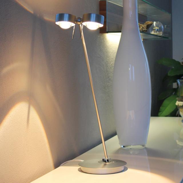 Top Light Puk Table Twin LED Tischleuchte mit Dimmer ohne Zubehör