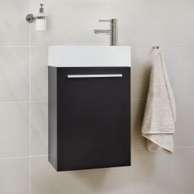 Treos Serie 900 Handwaschbecken mit Waschtischunterschrank mit 1 Tür Front cappuccino hochglanz / Korpus cappuccino hochglanz