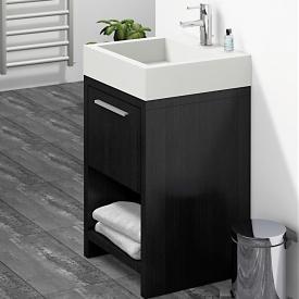 Treos Serie 900 Handwaschbecken mit Waschtischunterschrank mit 1 Auszug b-wood, mit Hahnloch