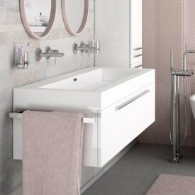 Treos Serie 900 Waschtisch mit Waschtischunterschrank mit 1 Auszug Front weiß / Korpus weiß, ohne Hahnloch