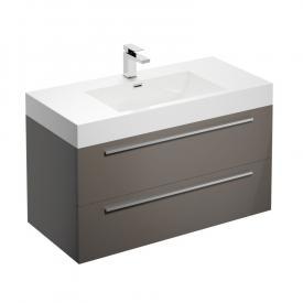 Treos Serie 900 Waschtisch mit Waschtischunterschrank mit 2 Auszügen Front cappuccino hochglanz / Korpus cappuccino hochglanz, mit 1 Hahnloch