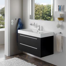 Treos Serie 900 Waschtisch mit Waschtischunterschrank mit 2 Auszügen Front schwarz seidenmatt / Korpus schwarz seidenmatt, mit 1 Hahnloch