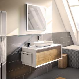 Treos Serie 905 Aufsatzwaschtisch mit Waschtischunterschrank mit 1 Auszug Front eiche / Korpus weiß, mit 1 Hahnloch