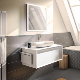 Treos Serie 905 Aufsatzwaschtisch mit Waschtischunterschrank mit 1 Auszug Front weiß / Korpus weiß, mit 1 Hahnloch