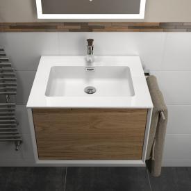 Treos Serie 905 Waschtisch mit Waschtischunterschrank mit 1 Auszug Front eiche / Korpus weiß, mit 1 Hahnloch