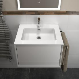 Treos Serie 905 Waschtisch mit Waschtischunterschrank mit 1 Auszug Front weiß / Korpus weiß, mit 1 Hahnloch