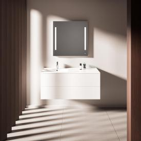Treos Serie 915 Waschtisch mit Waschtischunterschrank mit 2 Auszügen Becken links
