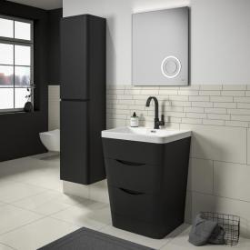 Treos Serie 920 Hochschrank mit 2 Türen Front schwarz seidenmatt / Korpus schwarz seidenmatt