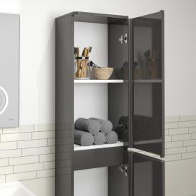 Treos Serie 920 Hochschrank mit 2 Türen Front graphit hochglanz / Korpus graphit hochglanz