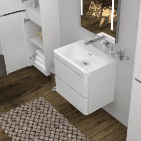 Treos Serie 920 Waschtischunterschrank inkl. Waschtisch mit 2 Auszügen ohne Hahnloch
