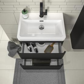 Treos Serie 920 Waschtisch mit Waschtischunterschrank mit 2 Auszügen Front schwarz seidenmatt / Korpus schwarz seidenmatt, mit 1 Hahnloch
