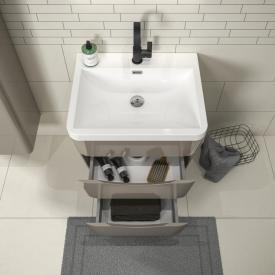 Treos Serie 920 Waschtisch mit Waschtischunterschrank mit 2 Auszügen Front cappuccino hochglanz / Korpus cappuccino hochglanz, mit 1 Hahnloch