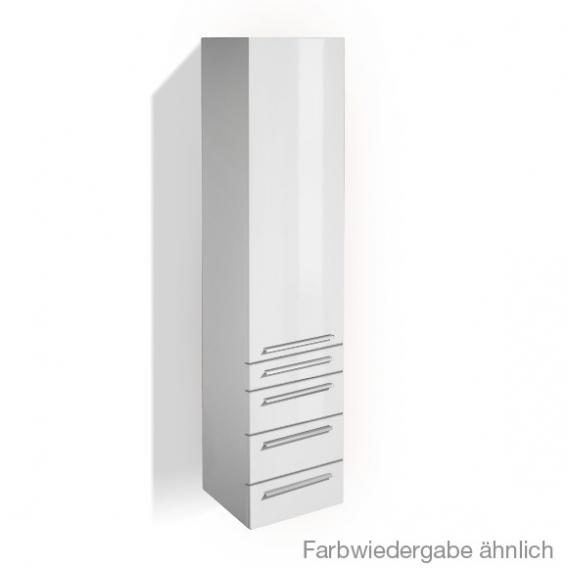 Treos Serie 900 Hochschrank mit 1 Tür und 4 Auszügen Front weiß / Korpus weiß