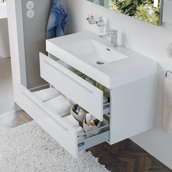 Treos Serie 900 Waschtisch mit Waschtischunterschrank mit 2 Auszügen Front weiß / Korpus weiß, mit 1 Hahnloch
