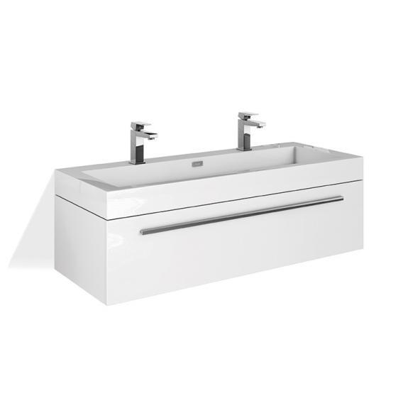 Treos Serie 902 Doppelwaschtisch mit Waschtischunterschrank mit 1 Auszug Front weiß / Korpus weiß