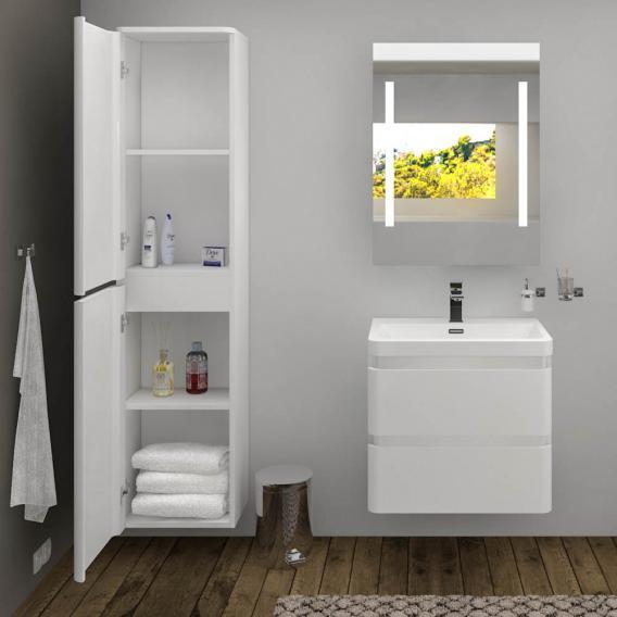 Treos Serie 920 Waschtischunterschrank inkl. Waschtisch mit 2 Auszügen mit 1 Hahnloch