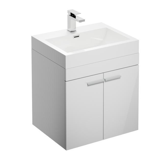 Treos Serie 900 Waschtisch mit Waschtischunterschrank mit 2 Türen Front weiß / Korpus weiß, mit 1 Hahnloch