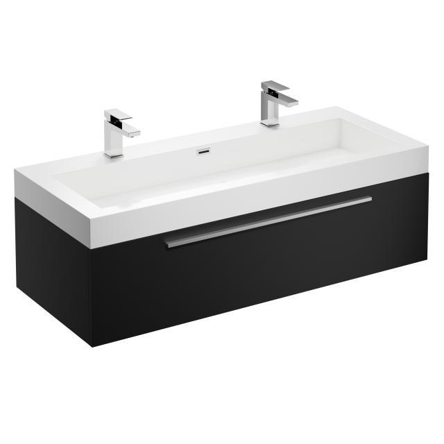 Treos Serie 902 Doppelwaschtisch mit Waschtischunterschrank mit 1 Auszug Front schwarz seidenmatt / Korpus schwarz seidenmatt