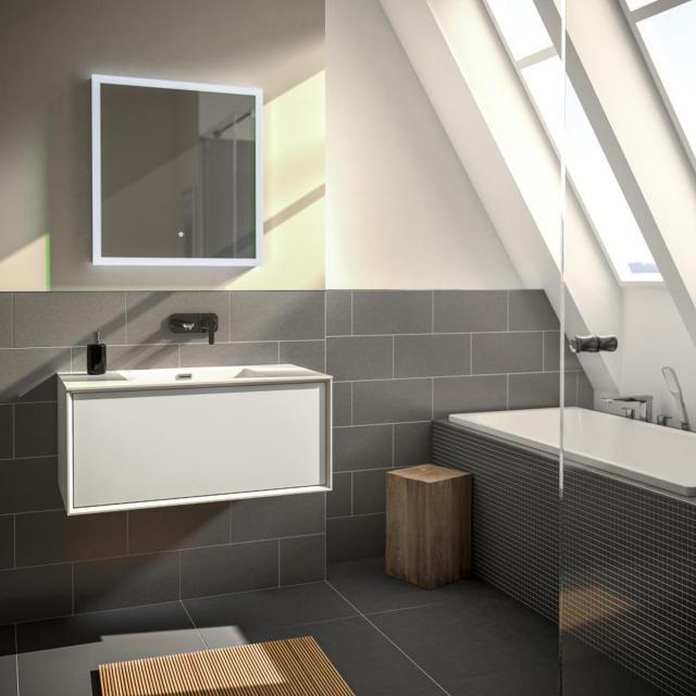 Treos Serie 905 Waschtisch mit Waschtischunterschrank mit 1 Auszug Front weiß / Korpus weiß, ohne Hahnloch