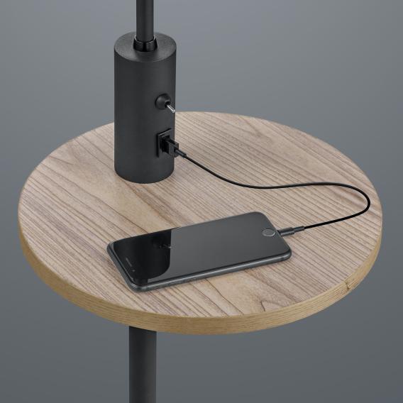Trio Claas USB Stehleuchte mit Ablagefläche